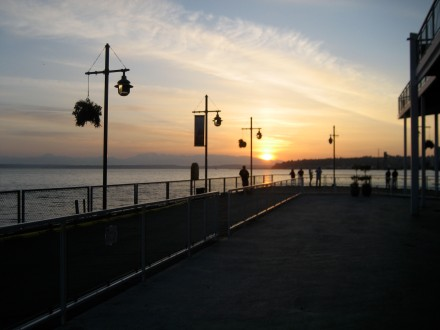 A Seattle sunset outside the elegant Waterfront Seafood Grill on Pier 70.
