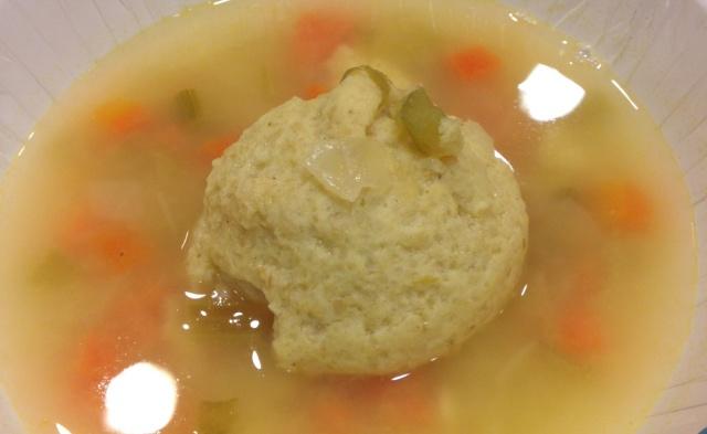 Matzah (matzoh, matzo) ball soup.