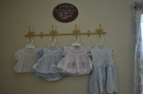 These are some of the baby outfits I wore; the blue one on the left home from the hospital.